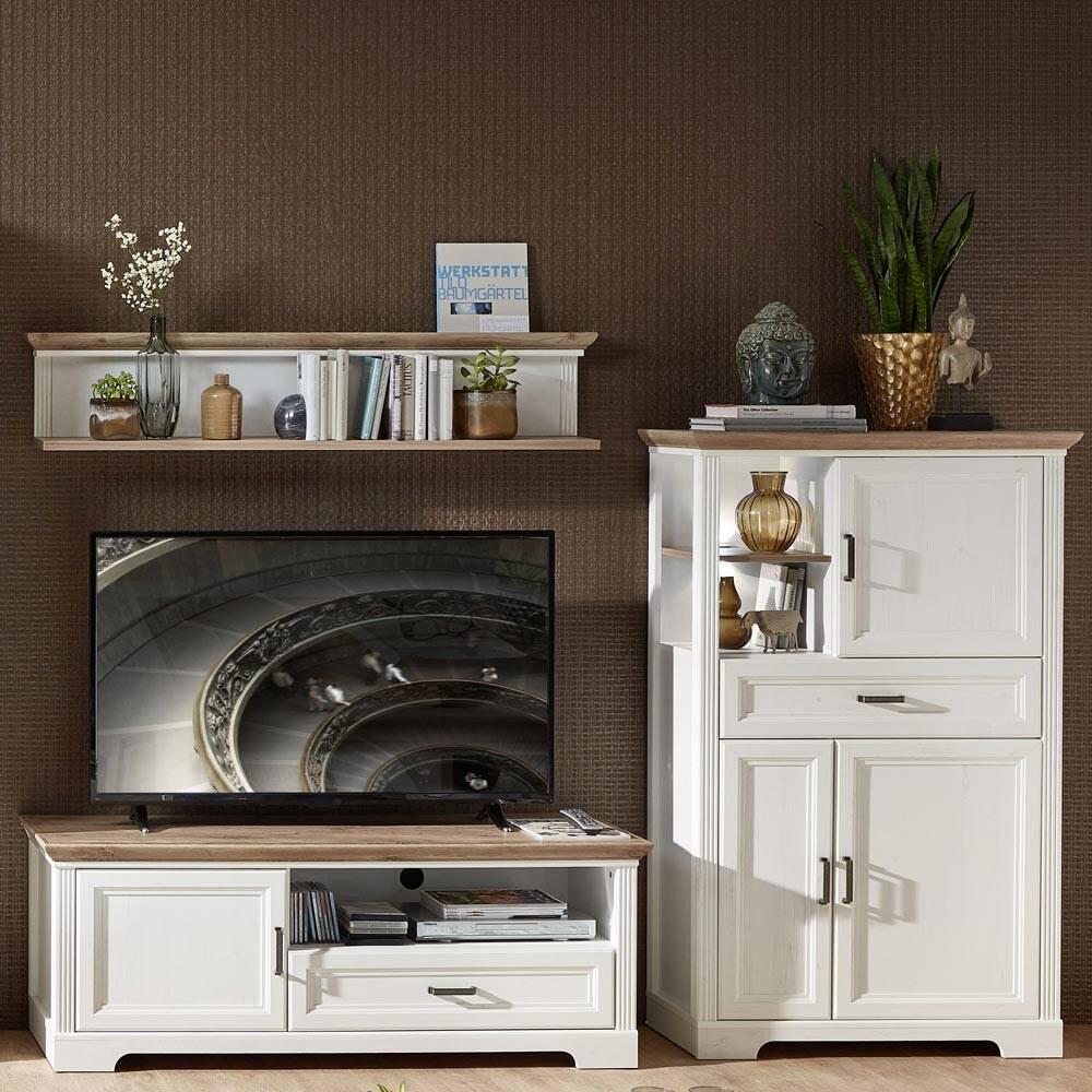 TV-Möbel Set JÜLICH-36 in Pinie weiß und Artisan Eiche Nb., mit Wandboard & Highboard - B/H/T: 251/180/51cm