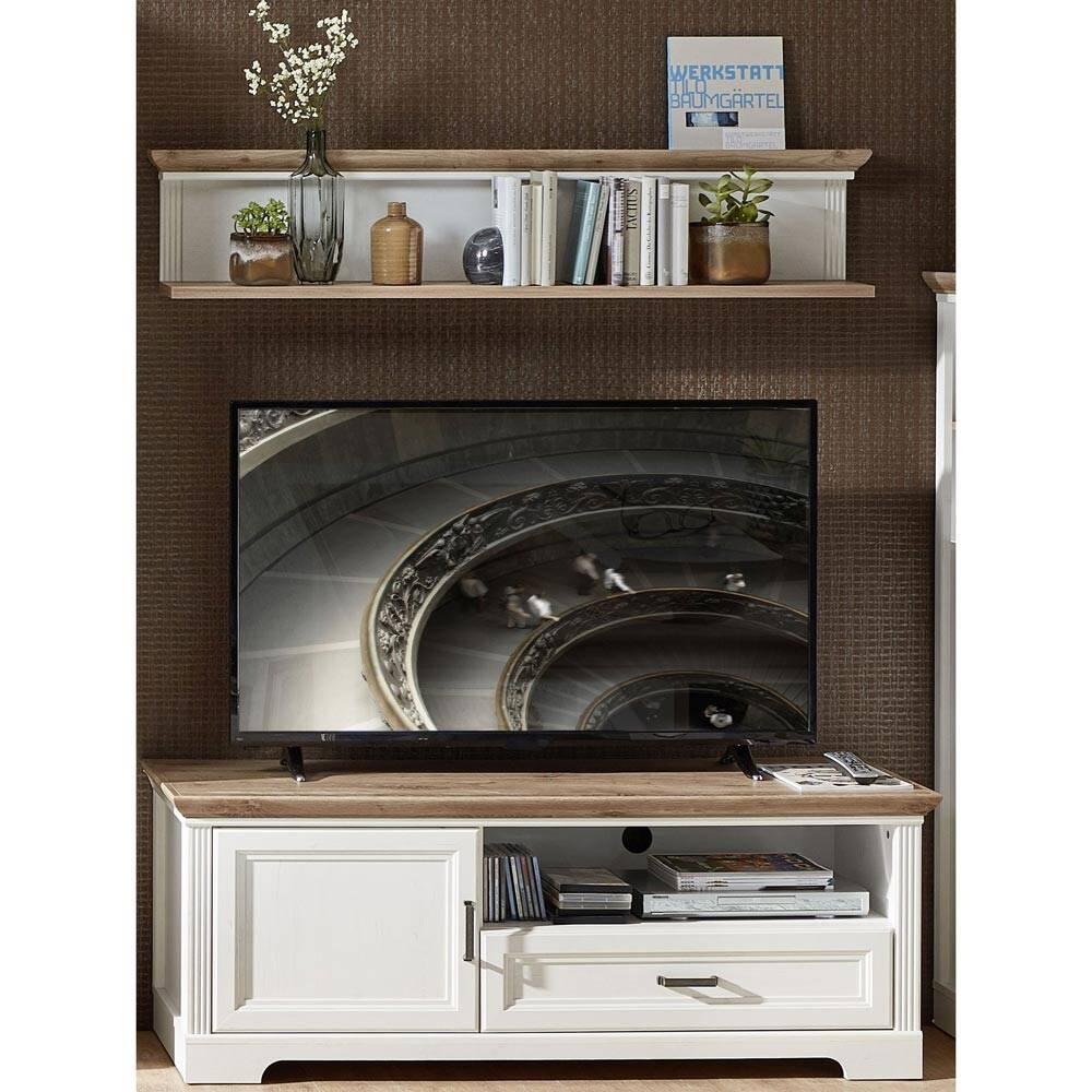 TV-Lowboard & Wandregal JÜLICH-36 in Pinie weiß und Artisan Eiche Nb., mit Kabeldurchlass - B/H/T: 143/180/51cm