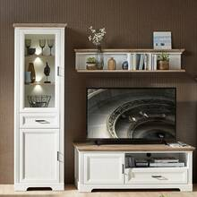 Wall unit with showcase JÜLICH-36 in pine white and...