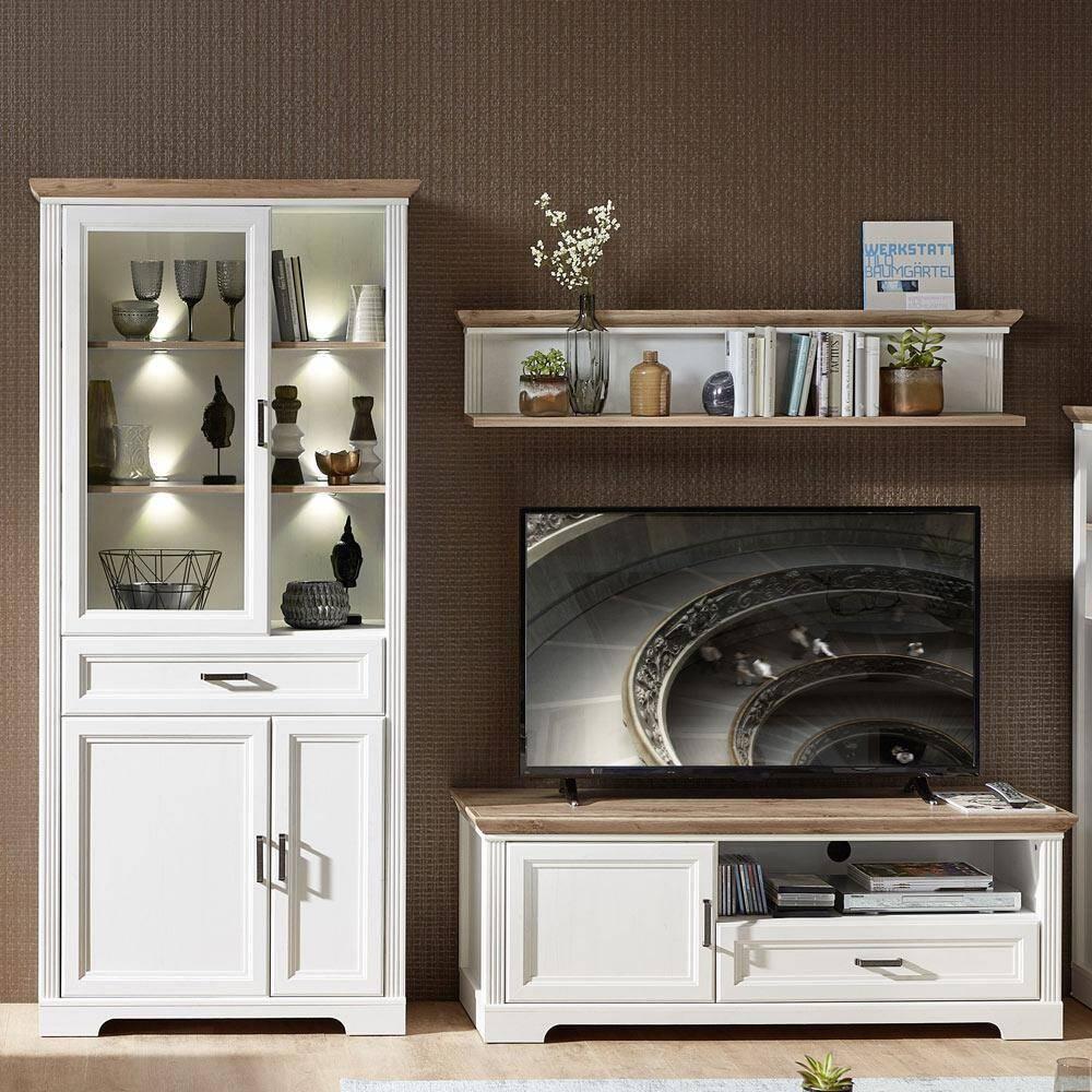 Mediawand TV-Lowboard & Vitrine mit LED JÜLICH-36 in Pinie weiß und Artisan Eiche Nb - B/H/T: 251/204/51cm