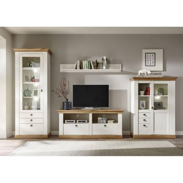 landhaus wohnwand linares 61 in pinie wei wotan eiche. Black Bedroom Furniture Sets. Home Design Ideas