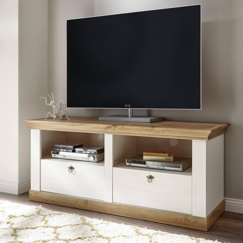 TV-Lowboard im Landhaus-Stil LINARES-61 in Pinie weiß / Wotan Eiche Nb. - B/H/T ca.: 152/65/52 cm