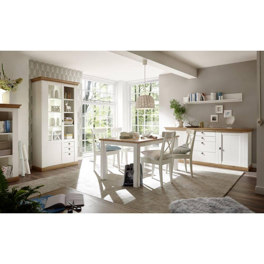 Esszimmermöbel-Set im Landhaus-Stil LINARES-61 in Pinie weiß / Wotan Eiche Nb. mit großem Sideboard - (ohne Stühle) B/H/T ca.: 646x204x52cm