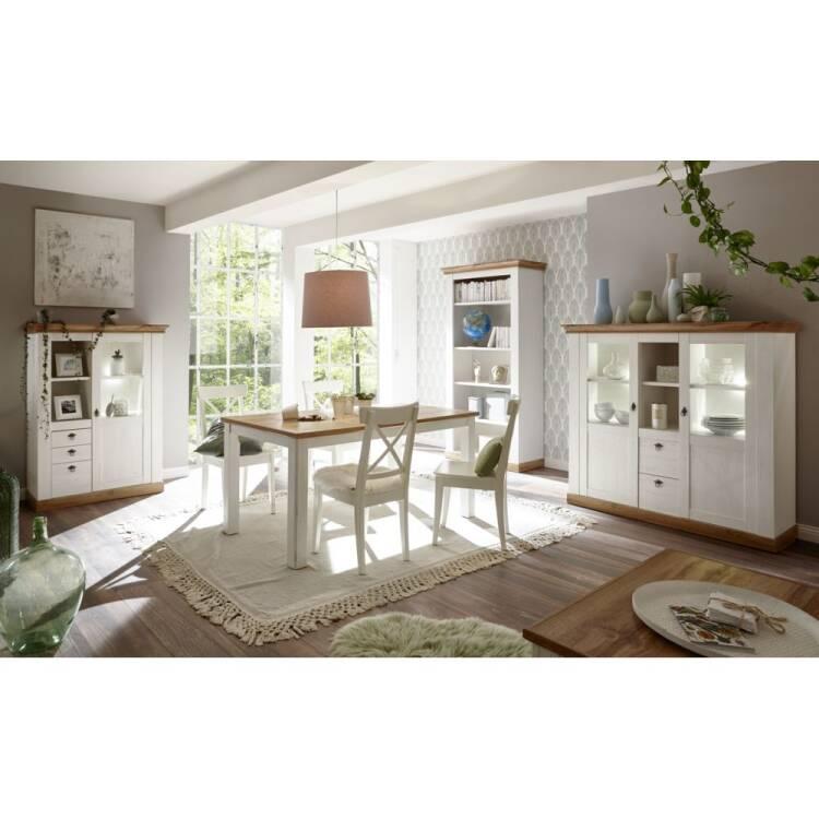 Esszimmer Schrank-Set im Landhaus-Design LINARES-61 in Pinie weiß / Wo