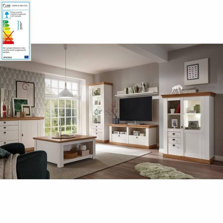 Komplett Landhaus Wohnzimmer-Set LINARES-61 in Pinie weiß / Wotan Eich