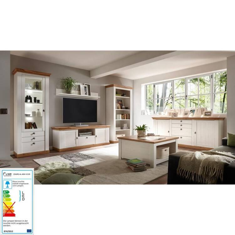 Komplett-Set Wohnzimmermöbel LINARES-61 Landhaus-Stil in Pinie weiß /