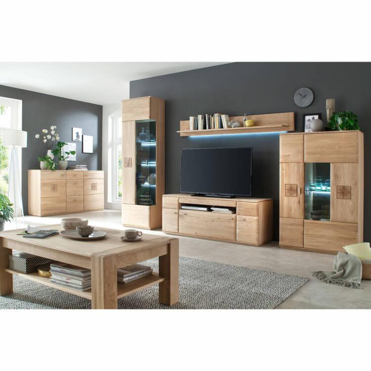 Modernes Wohnzimmer Sideboard BADALONA 05 In Eiche Bianco Massiv, Fronten  Abgerundet   B/