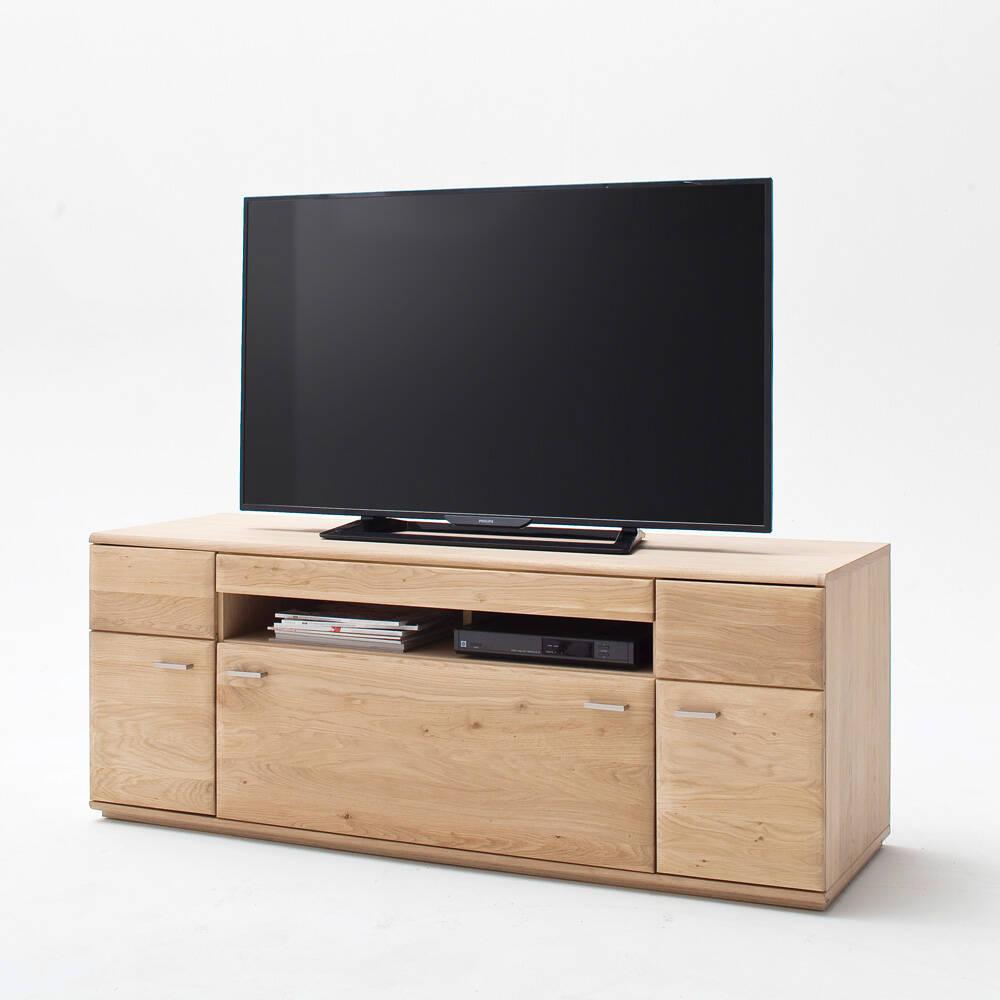 TV-Lowboard 150cm BADALONA-05 in Eiche Bianco massiv, Front gerundet - B/H/T: 150/58/50cm
