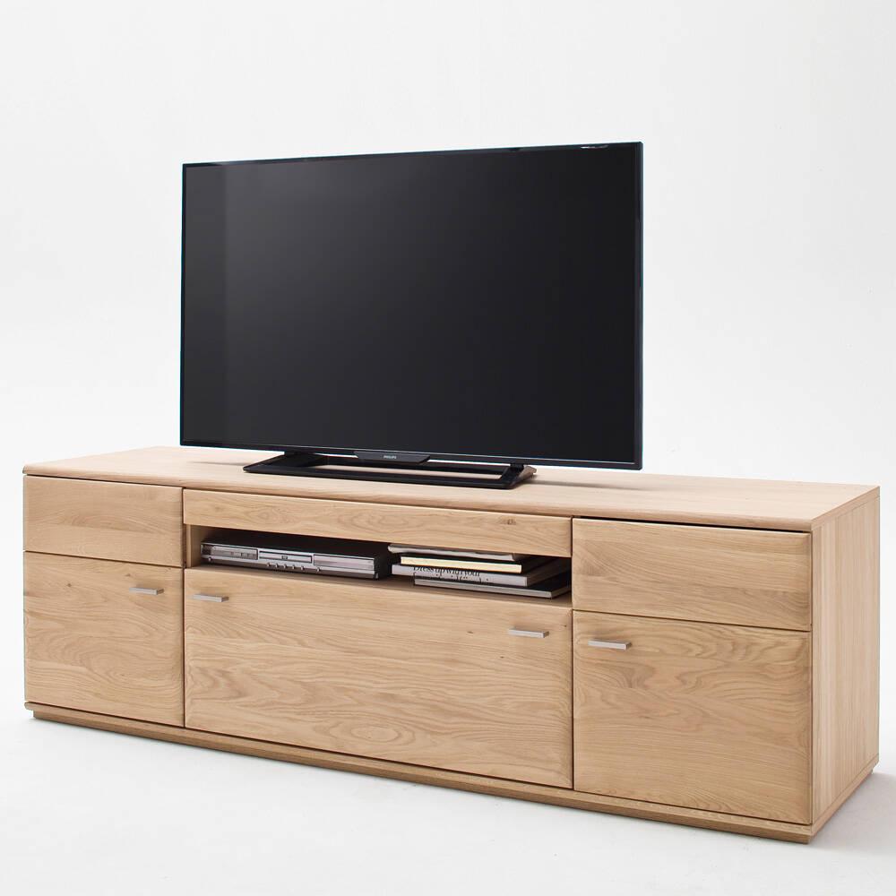 Modernes Wohnzimmer TV-Lowboard BADALONA-05 in Eiche Bianco massiv, mit Kabeldurchlass - B/H/T: 180/58/50cm