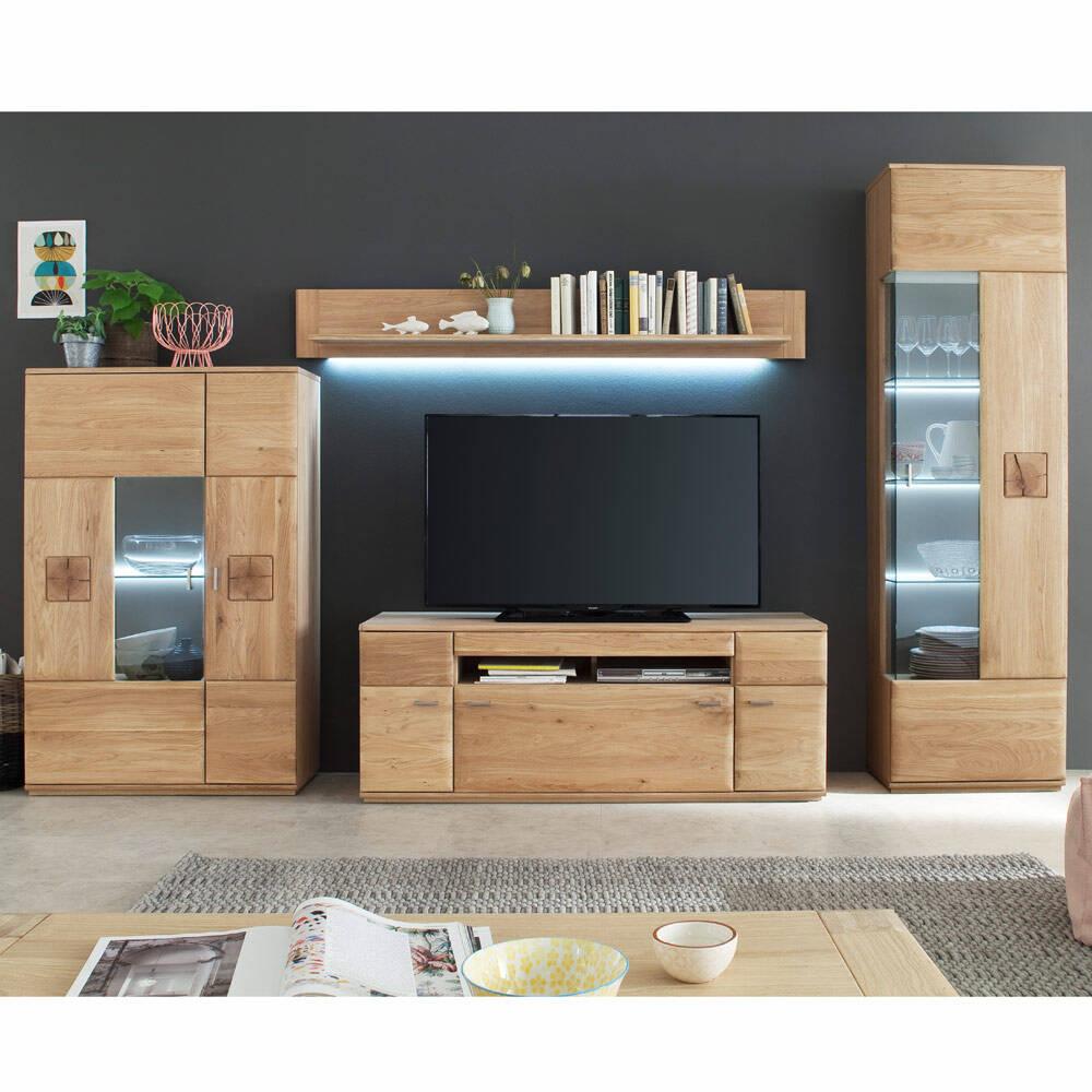 TV-Wohnwand Wohnzimmer BADALONA-05 aus Massivholz Eiche Bianco, Fronten gerundet, inkl. LED - B/H/T: 330/208/50cm