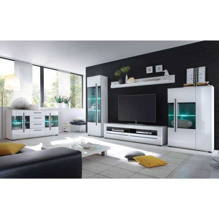 Wohnzimmer Möbel Serie COLORADO-61 in weiß Hochglanz inkl. LED selbst