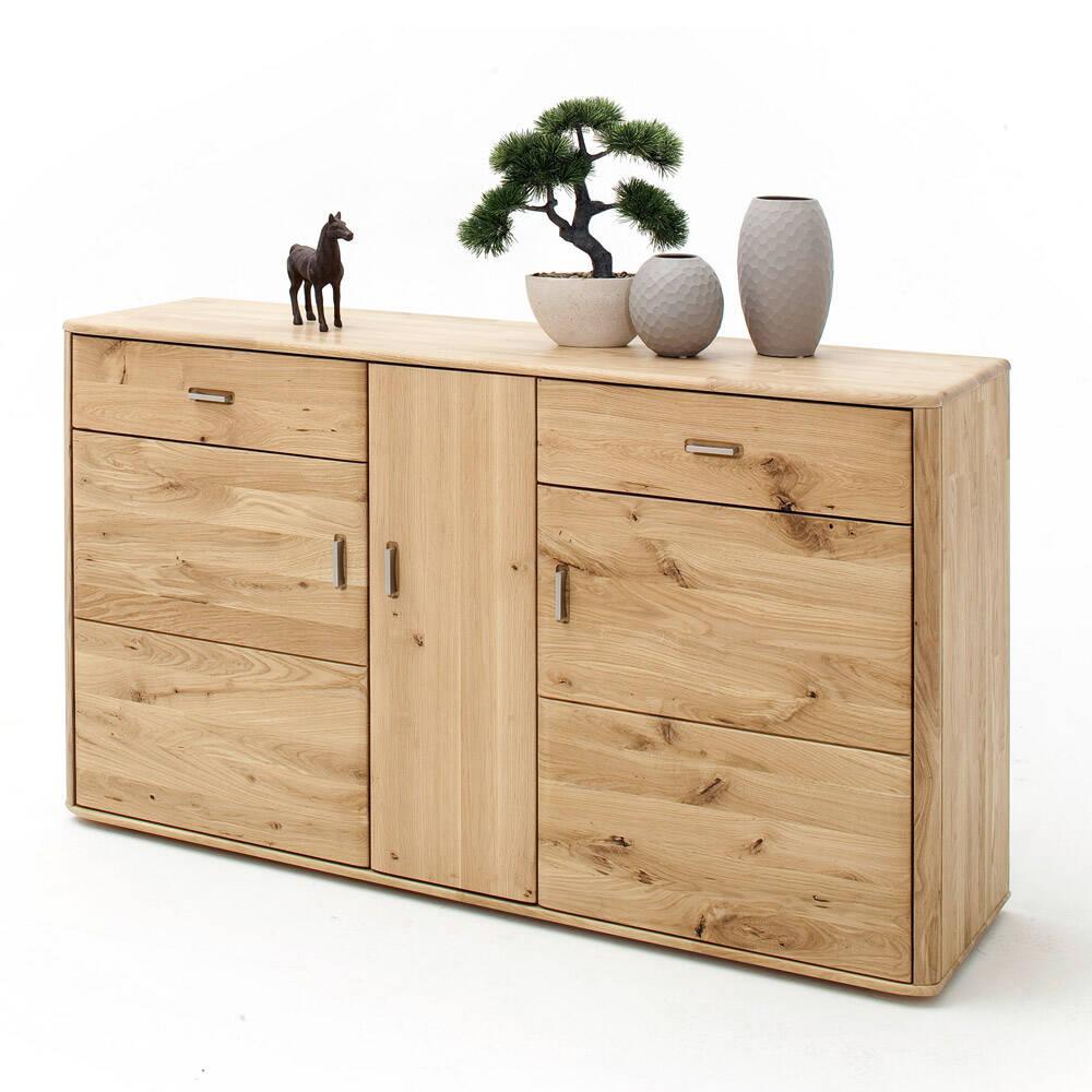 Sideboard ROSARIO-05 für Wohn- & Esszimmer, aus Balkeneiche Bianco massiv - B/H/T: 156/90/44cm
