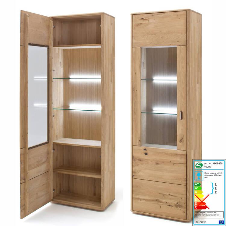 Moderne Wohnzimmer Vitrine ROSARIO-05 aus Balkeneiche Bianco massiv, opt.  mit LED - B/H/T: 66/208/38cm