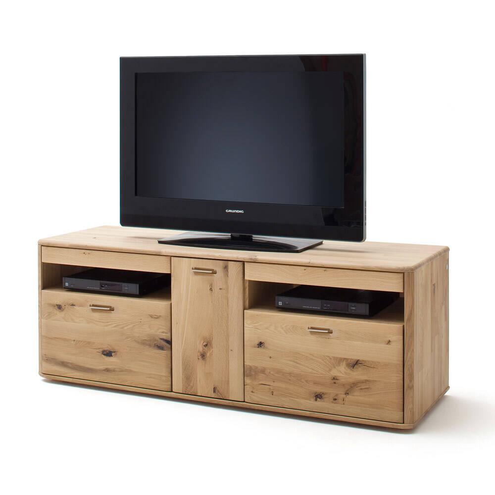 Wohnzimmer Wohnwand TV-Lowboard ROSARIO-05 aus Balkeneiche Bianco massiv - B/H/T: 156/58/50cm