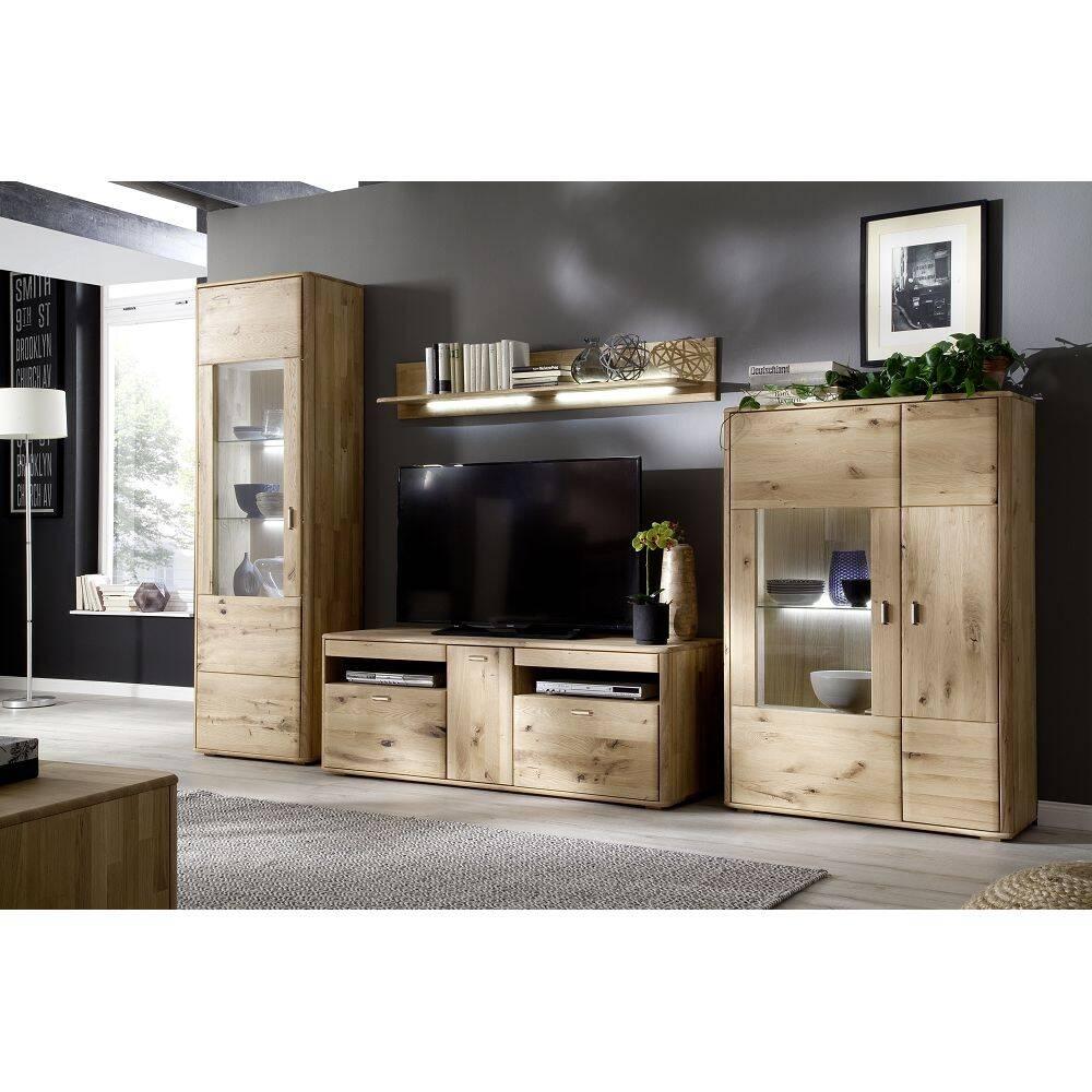 Wohnzimmer Wohnwand ROSARIO-05 Möbel aus massiver Balkeneiche Bianco, mit LED - Stellmaß B/H/T: 348/208/50cm