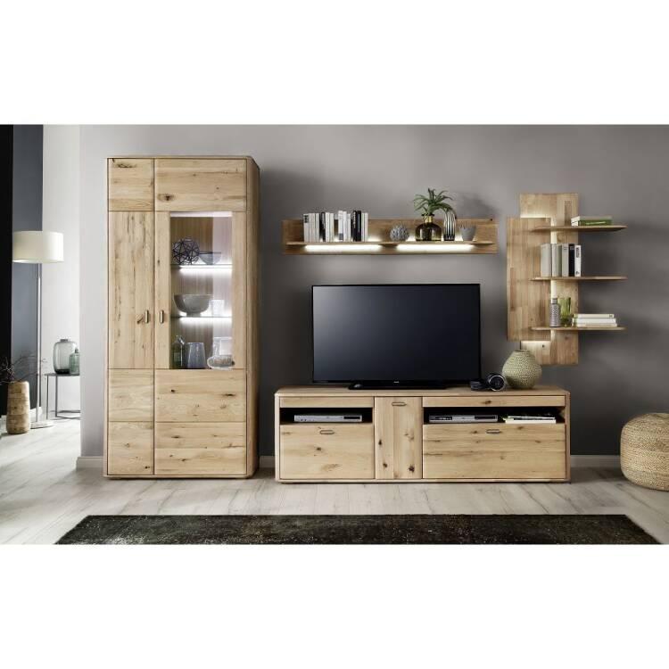 TV Wohnwand ROSARIO-05 Wohnzimmer Möbel aus massiver Balkeneiche Bianc