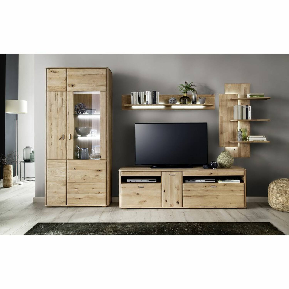 TV Wohnwand ROSARIO-05 Wohnzimmer Möbel aus massiver Balkeneiche Bianco, mit LED - Stellmaß B/H/T: 340/208/50cm