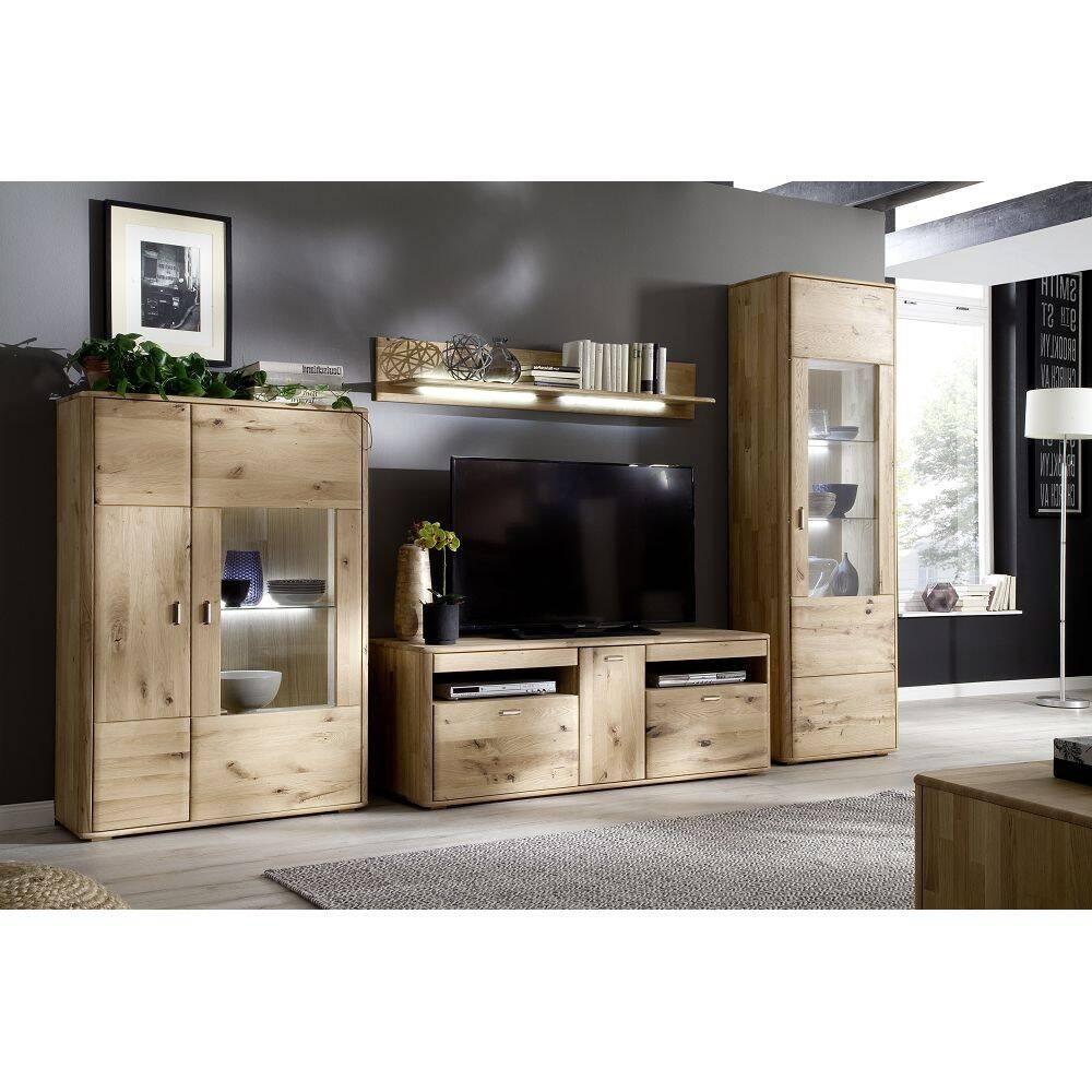 Wohnwand Wohnzimmer ROSARIO-05 TV-Möbel aus massiver Balkeneiche Bianco, mit LED - Stellmaß B/H/T: 348/208/50cm