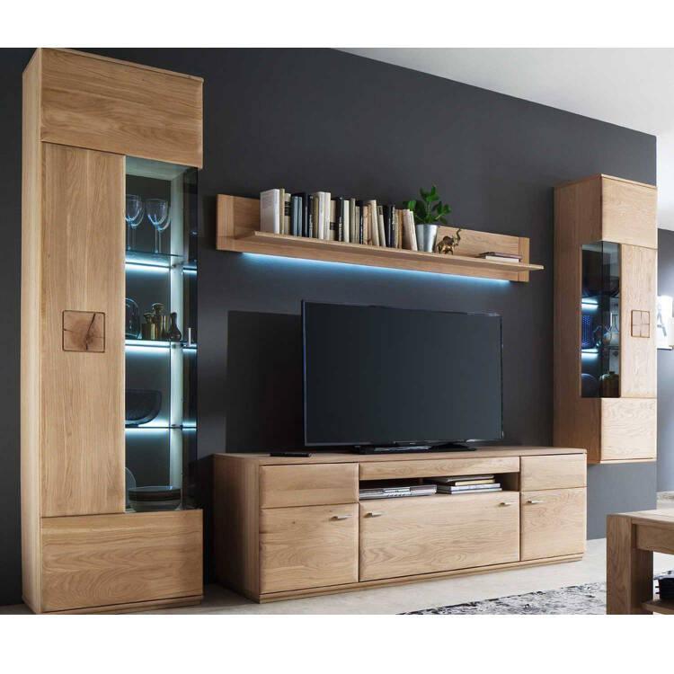 Wohnzimmer Möbel Serie BADALONA-05 in Eiche Bianco massiv, Selbst zusa