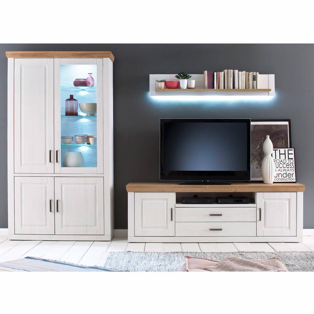 Wohnwand BRASILIA-05 TV Anbauwand in Pinie Aurelio & Grandson Oak Nb., mit LED - B/H/T: 331/210/52cm