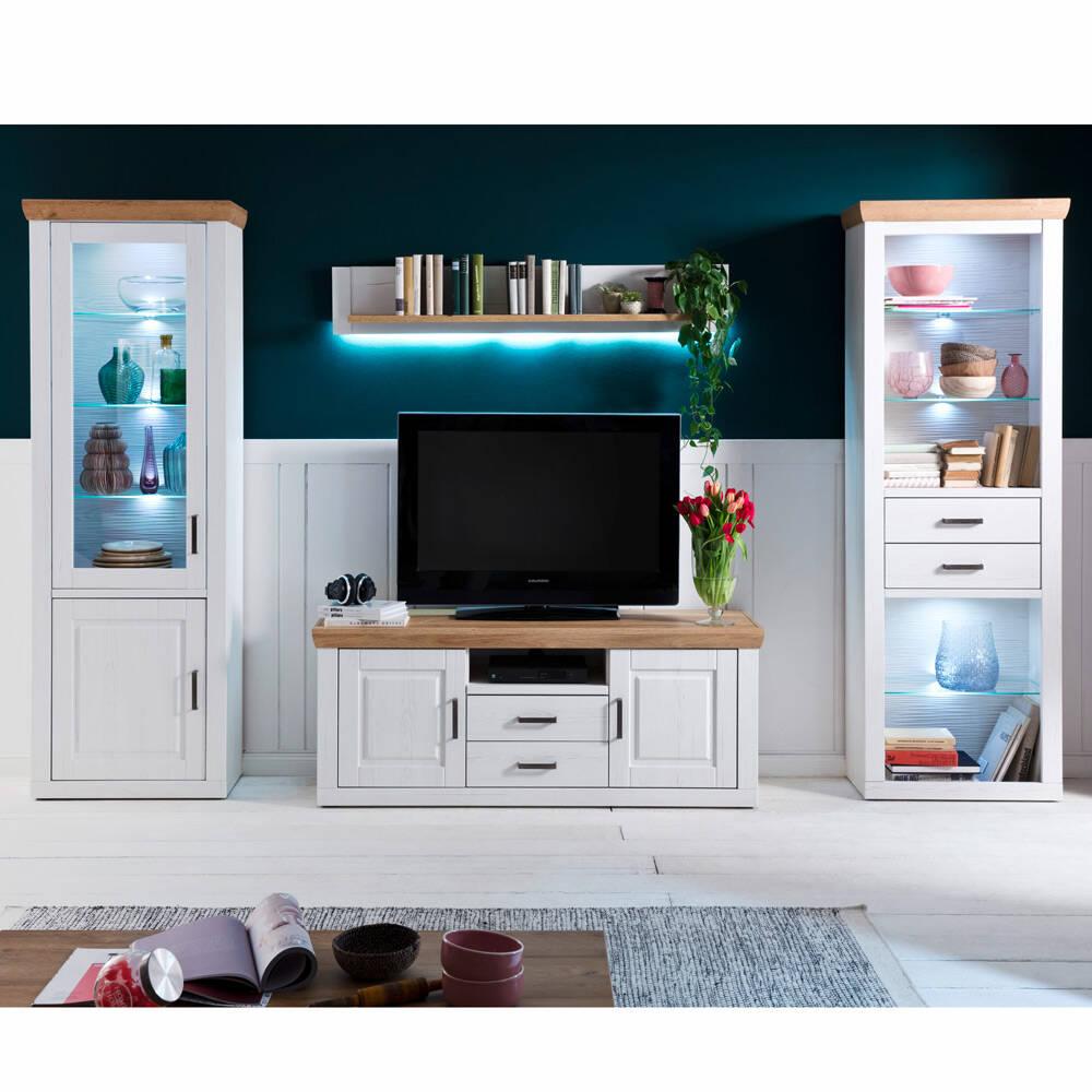 TV Wohnwand BRASILIA-05 Wohnzimmermöbel in Pinie Aurelio & Grandson Oak Nb., mit LED - B/H/T: 334/210/52cm