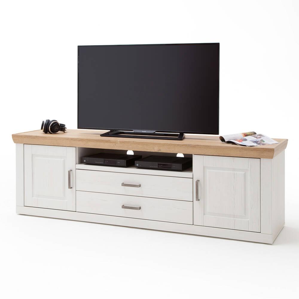 Lowboard TV-Schrank BRASILIA-05 Landhausstil in Pinie Aurelio Nb. & Grandson Oak Nb. - B/H/T: 198/63/52cm