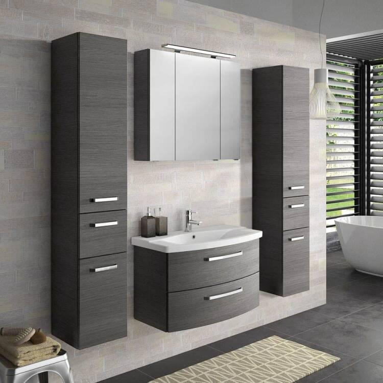 Badezimmer Komplett-Set FES-4010-60 mit 80cm Keramik Waschtisch, Spieg