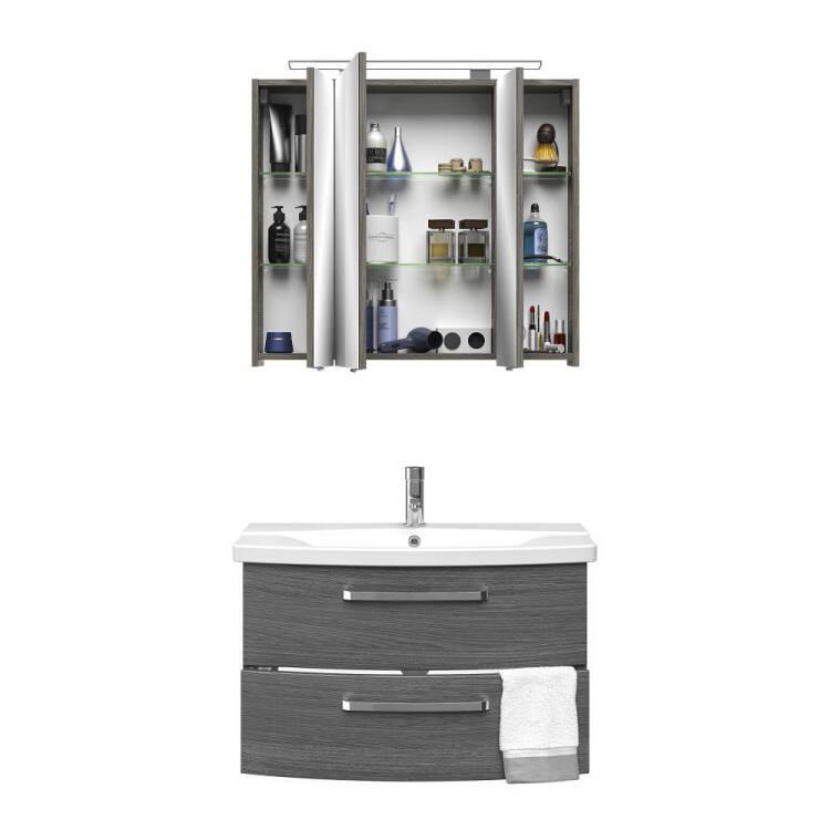 Badezimmer Komplett-Set FES-4010-60 mit 80cm Keramik Waschtisch,  Spiegelschrank inkl. LED & 2 Hochschränken