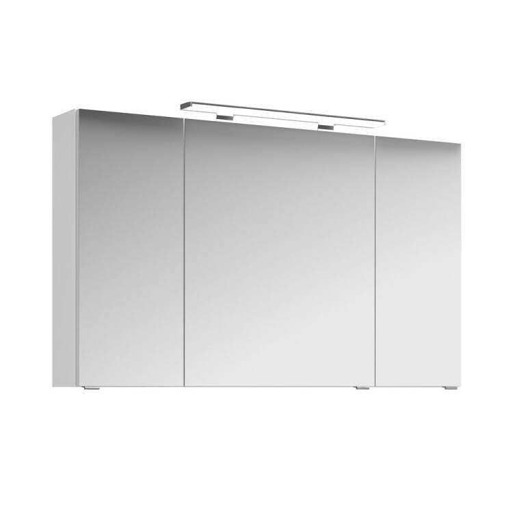 Badezimmer-Set FES-4010-60 mit 120cm Keramik-Waschtisch, LED-Spiegelschrank  inkl. LED & 2 Midischränken B/H/T ca.: 211/200/48cm