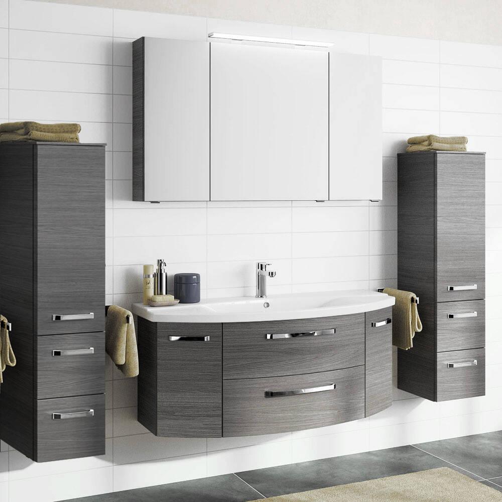 Badezimmer-Set mit 120cm Keramik Waschtisch, Spiegelschrank & 2 Midischränken FES-4010-66 in Graphit Struktur
