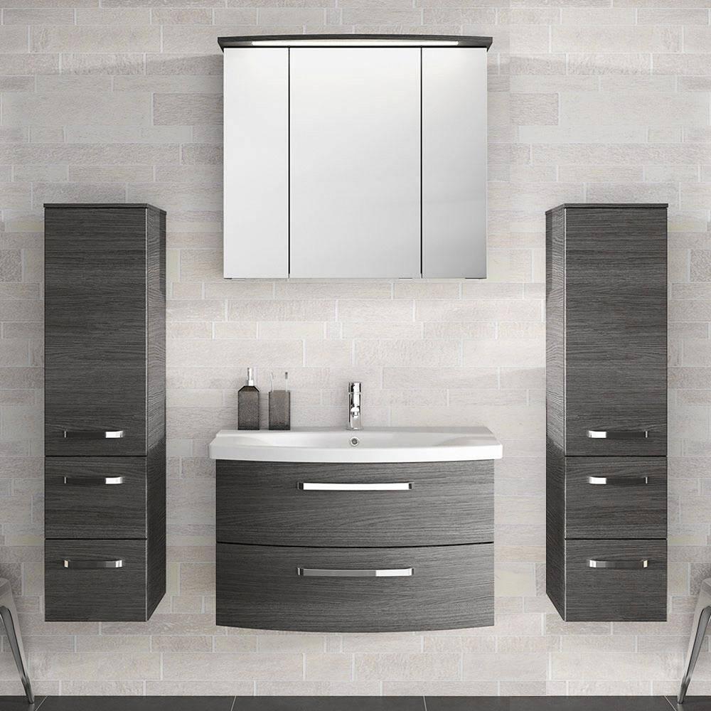 Badezimmer-Set mit 80cm Keramik Waschtisch, Spiegelschrank & 2 Midischränken FES-4010-60 Graphit Struktur
