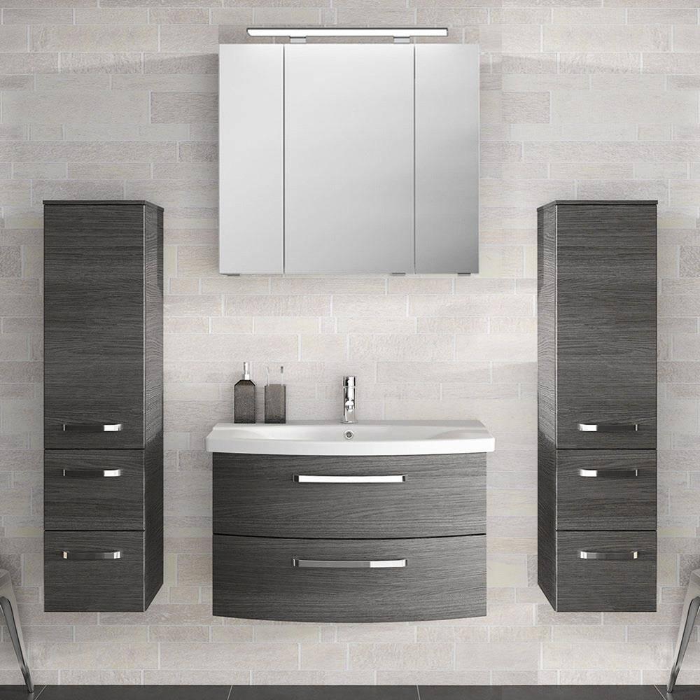 Badezimmer Komplett-Set mit 80cm Keramik Waschtisch, Spiegelschrank inkl. LED & 2 Midischränken FES-4010-66 in Graphit Struktur