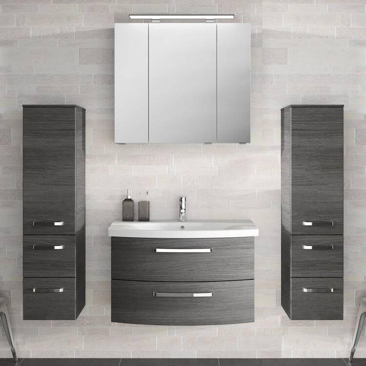 Badezimmer Komplett-Set mit 80cm Keramik Waschtisch, Spiegelschrank in