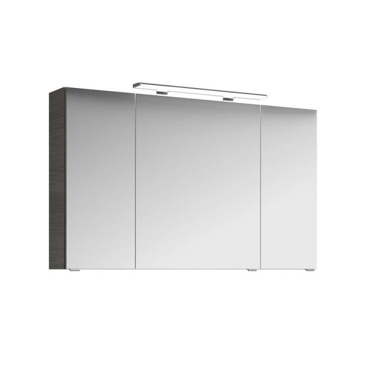 Badezimmer Set FES-4010 in Graphit Struktur mit 120cm Waschtisch,  LED-Spiegelschrank und Hochschrank B/H/T: 166/200/46cm