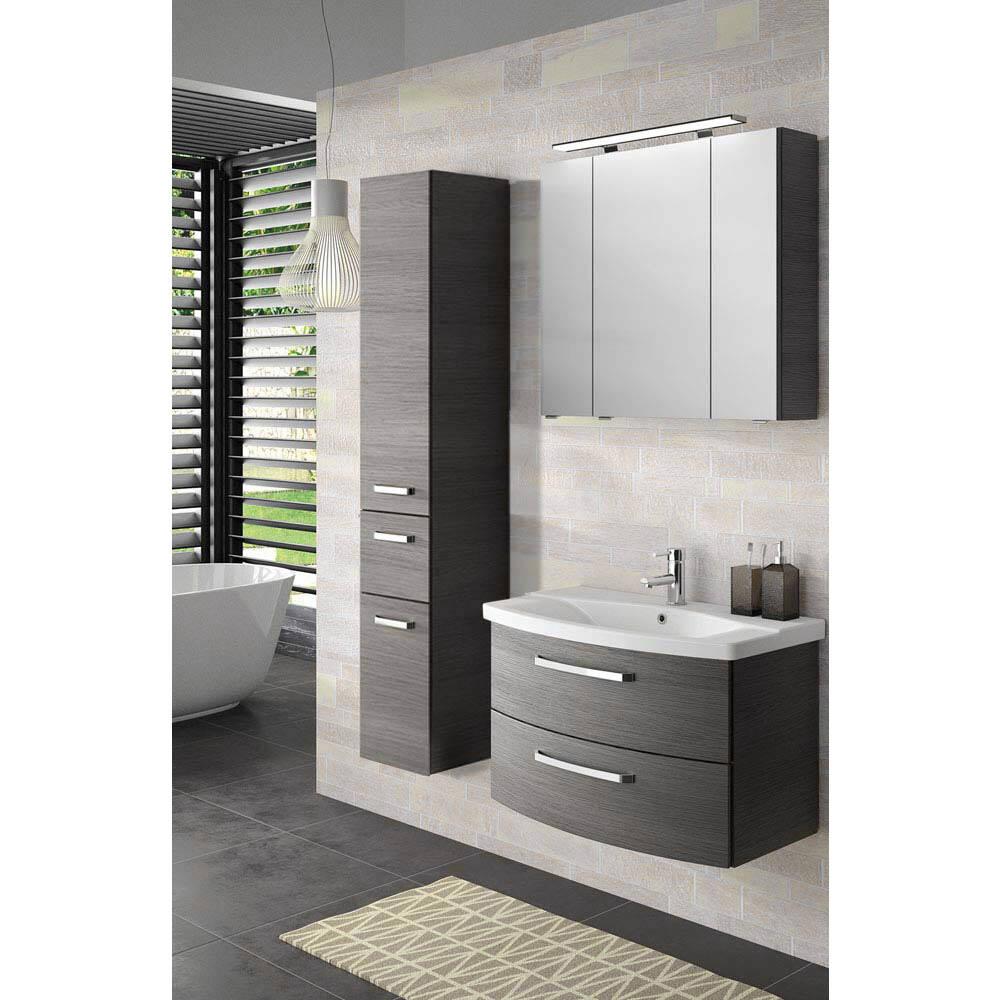 Badmöbel Waschplatz-Set in Graphit Struktur FES-4010-66 mit 80cm Keramik Waschtisch, Spiegelschrank inkl. LED & Hochschrank