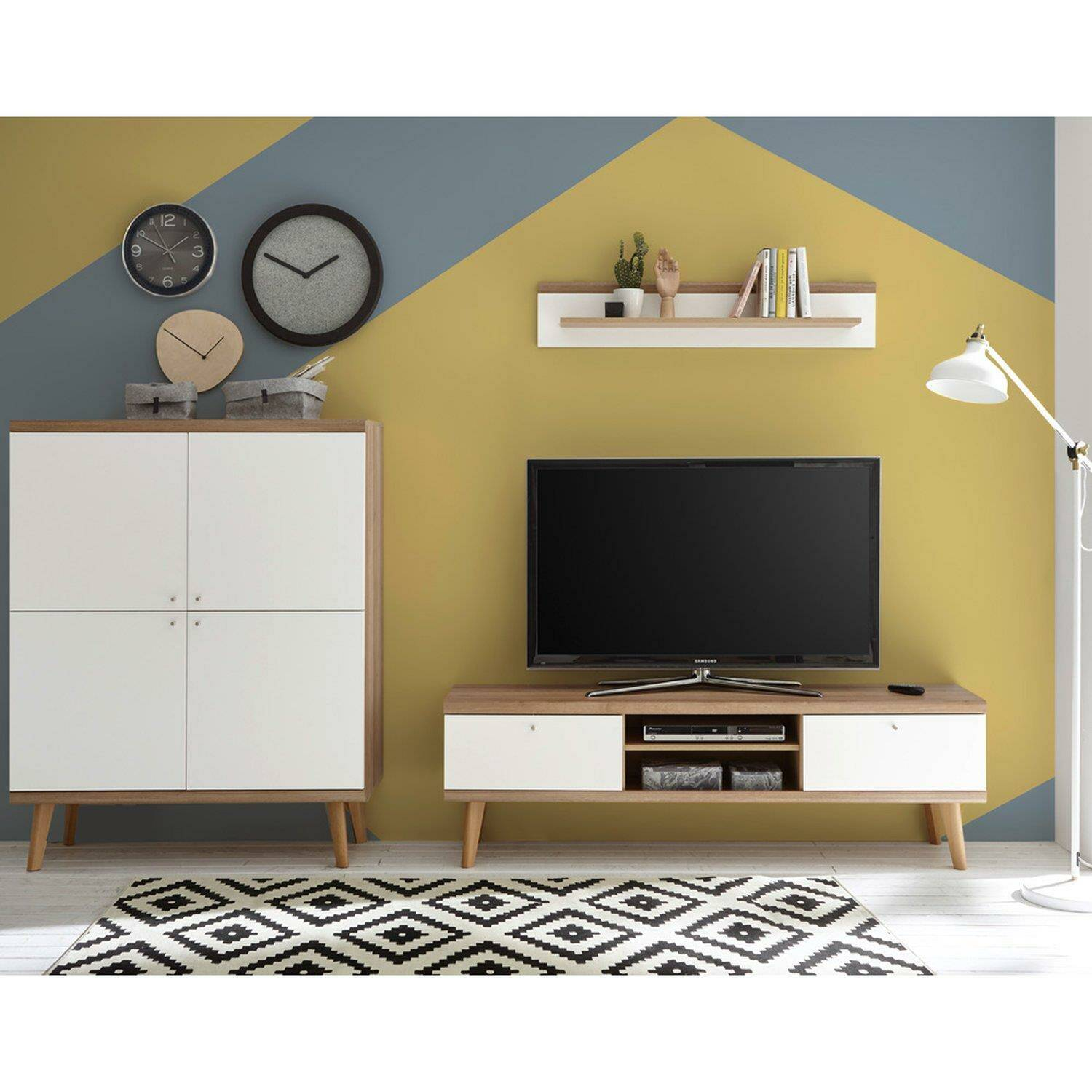living room, dining room and wardrobe furniture series mainz-61 in white  matt with oak riviera nb. createyourself