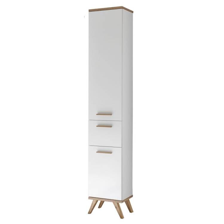 Badezimmer Hochschrank MALANJE-66 in weiß glänzend & Riviera Eiche que