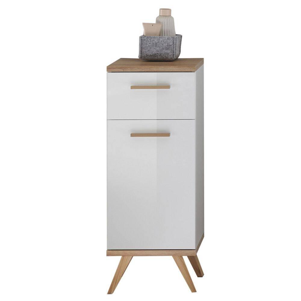 Badezimmer Seitenschrank MALANJE-66 in weiß glänzend & Riviera Eiche quer Nb. - B/H/T: 35,5/89,5/33cm