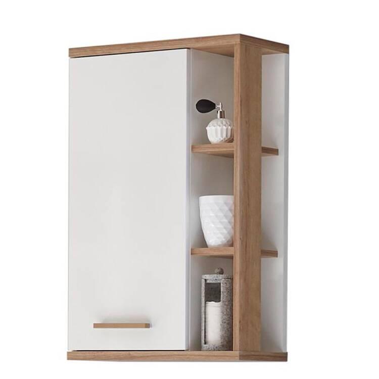 Badezimmer Wandschrank MALANJE-66 in weiß glänzend & Riviera Eiche quer Nb.  - B/H/T: 50,5/74,5/20,5cm