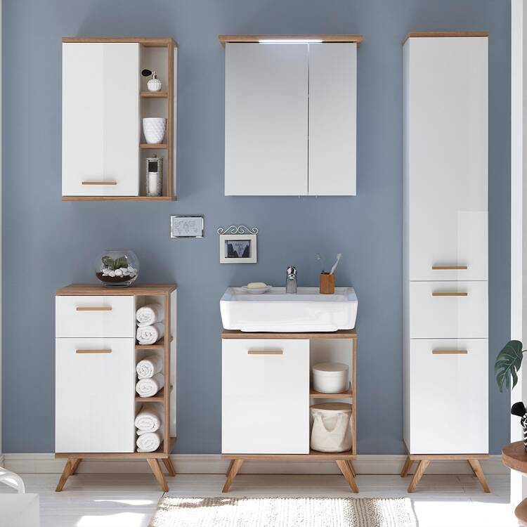 Badezimmer Waschbecken-Unterschrank MALANJE-66 in weiß glänzend & Riviera  Eiche quer Nb. - B/H/T: 60,5/65/33cm