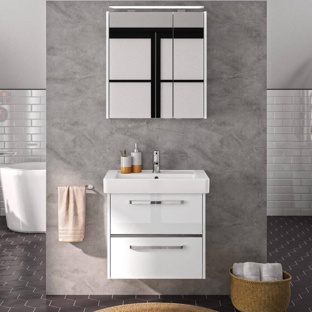 Badezimmer Waschplatz FES-3050-66 mit Spiegelschrank und Keramikbecken in Hochglanz weiß - B/H/T: 66/200/45cm