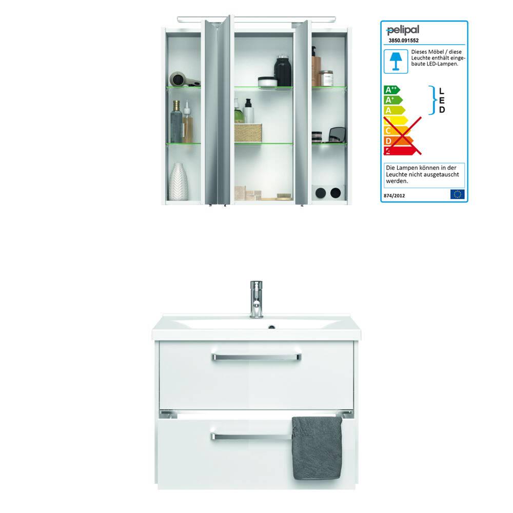 Bad Waschplatz mit Mineralguss Becken FES-3050-66 Badmöbel in Hochglanz weiß, Unterschrank inkl. LED - B/H/T: 77/200/43cm
