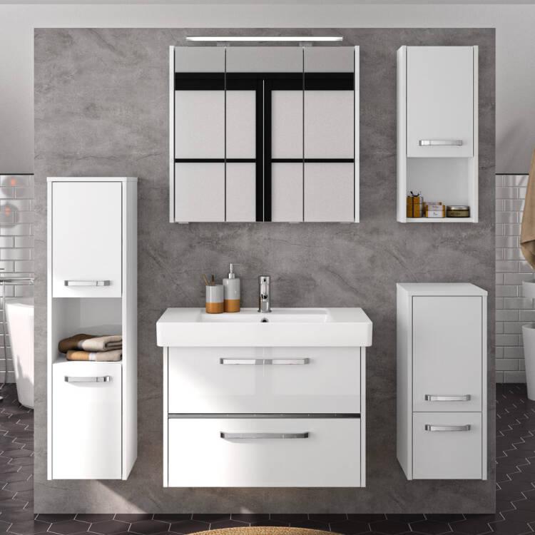 Badezimmer-Wand-Hängeschrank FES-3050-66 Badschrank in Hochglanz weiß -  B/H/T: 30/70/16cm