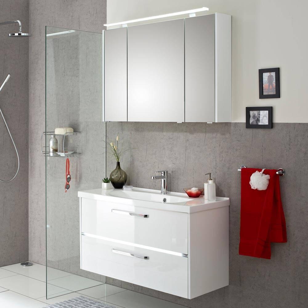 Badmöbel-Set Waschtisch & Spiegelschrank FES-3050-66 in Hochglanz weiß mit Mineralguss Waschbecken und LED - B/H/T: 105/200/43cm