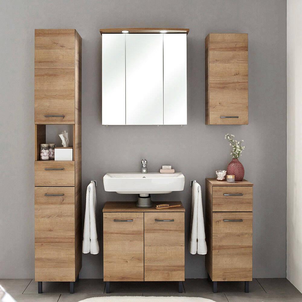 Badmöbel-Set RECIFE-66 in Riviera Eiche quer Nb, mit grauer Kante, inkl. Spiegelschrank mit LED - B/H/T: 155/195,5/33cm