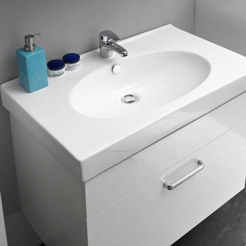 Waschtisch WARSCHAU-66 in weiß glänzend - B/H/T: 80/57/48cm