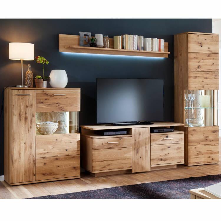 Wohnwand TV-Möbel Set in Asteiche Bianco massiv SAMARA-05 B/H/T: 320/