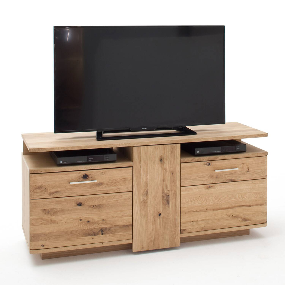 Massives TV-Lowboard 150cm SAMARA-05 Geräte-Schrank aus Asteiche Bianco massiv - B/H/T: 150/67/46cm