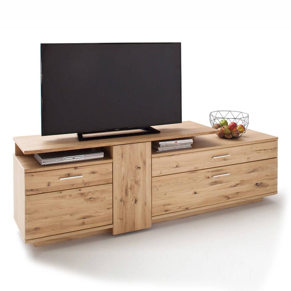 TV-Lowboard SAMARA-05 Fernsehschrank aus Asteiche Bianco massiv - B/H/T: 210/67/46cm