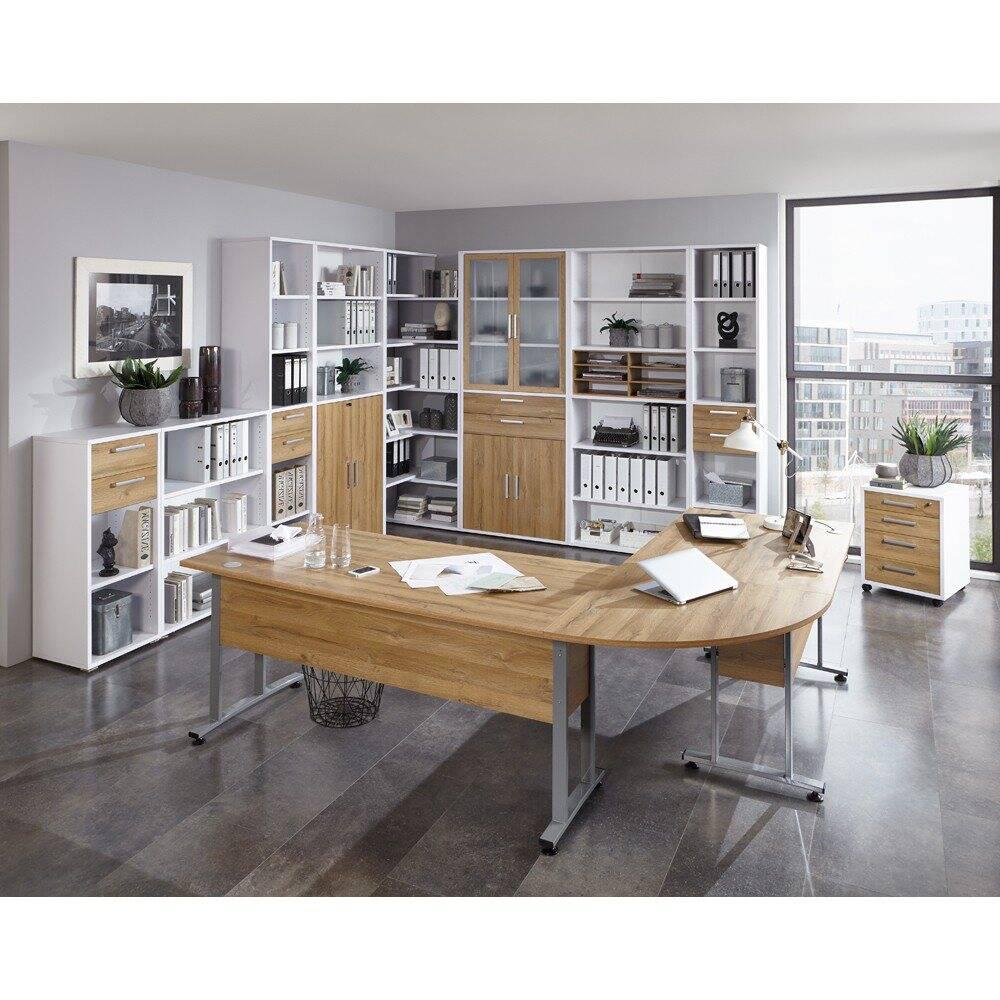 Kombination Büromöbel COLUMBUS-10 in Brilliantweiß matt & Alteiche Nb. - Stellmaß Schränke B/H/T: 581/221/40cm